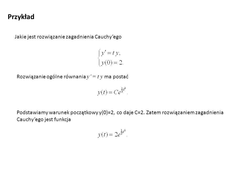 Przykład Jakie jest rozwiązanie zagadnienia Cauchy'ego