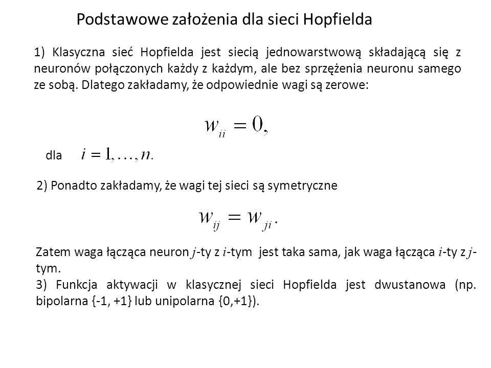 Podstawowe założenia dla sieci Hopfielda