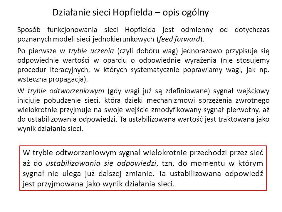 Działanie sieci Hopfielda – opis ogólny