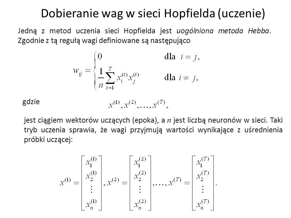 Dobieranie wag w sieci Hopfielda (uczenie)
