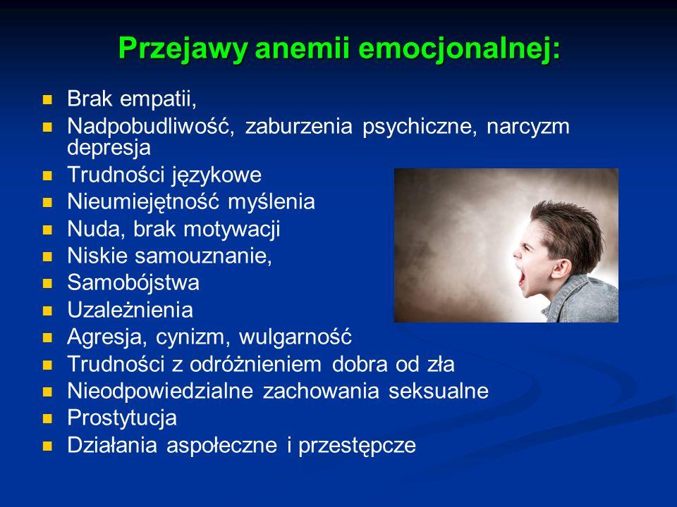 Przejawy anemii emocjonalnej:
