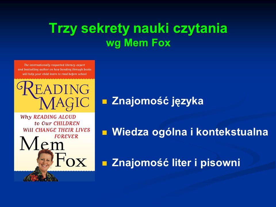 Trzy sekrety nauki czytania wg Mem Fox