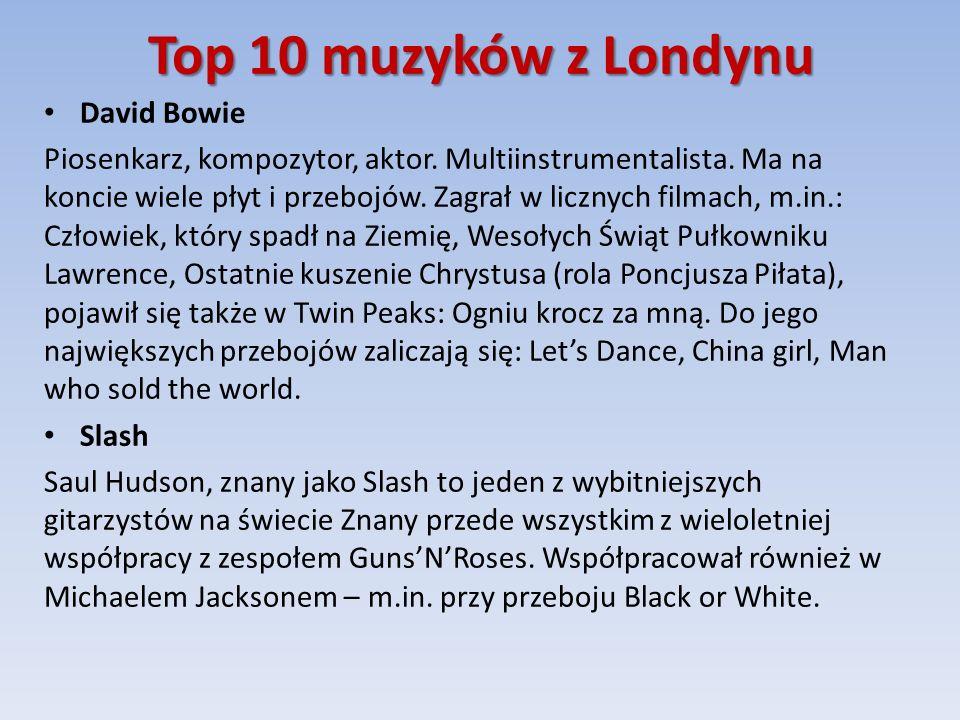 Top 10 muzyków z Londynu David Bowie