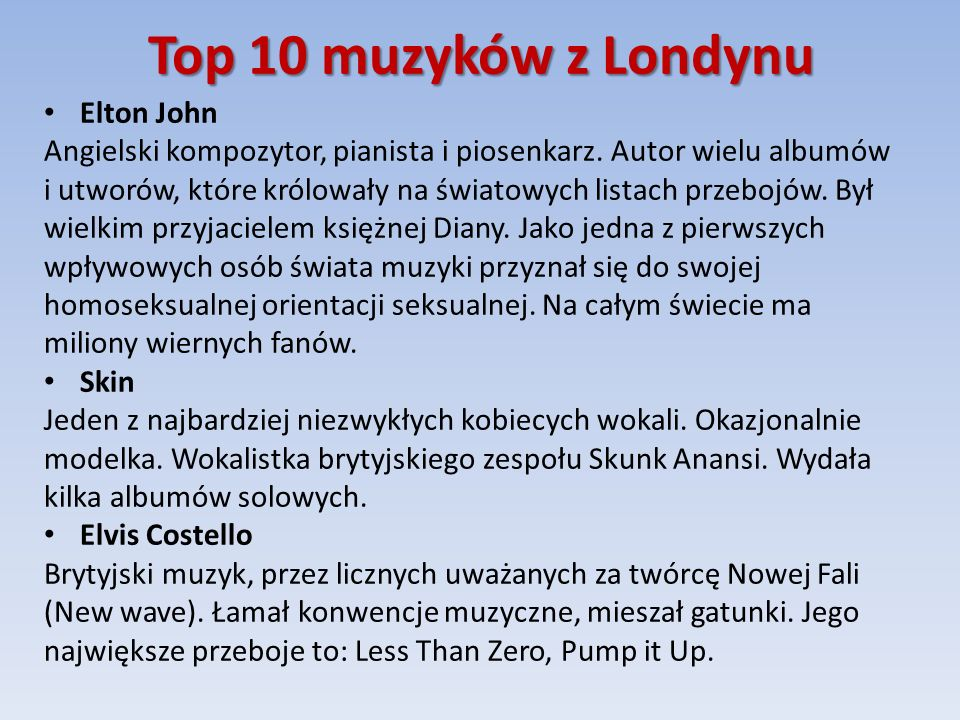 Top 10 muzyków z Londynu Elton John