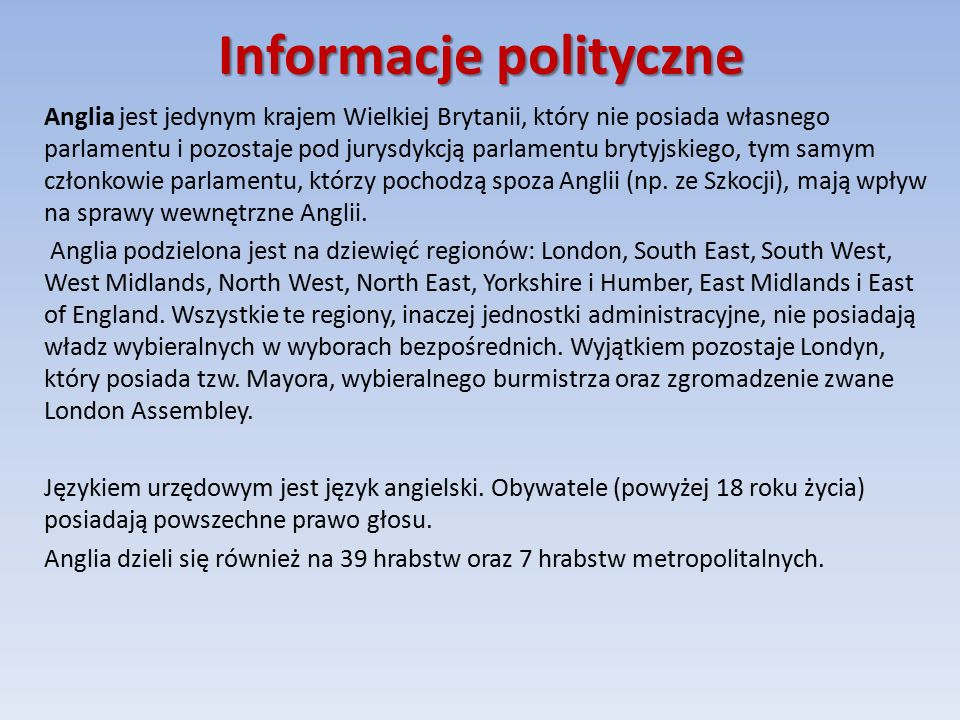 Informacje polityczne