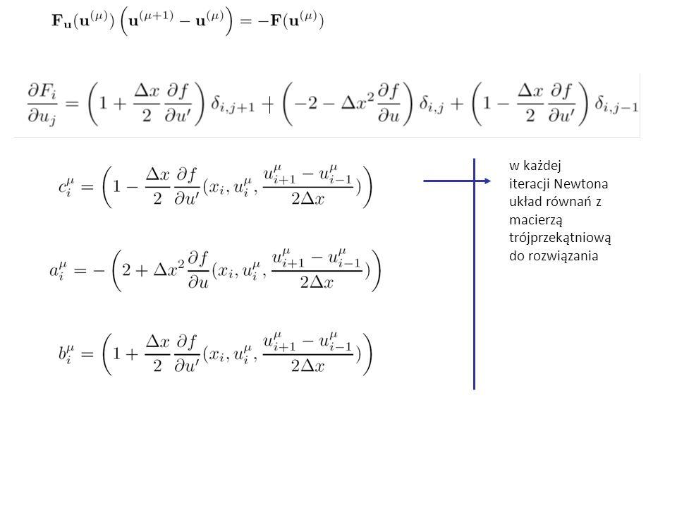 w każdej iteracji Newtona układ równań z macierzą trójprzekątniową