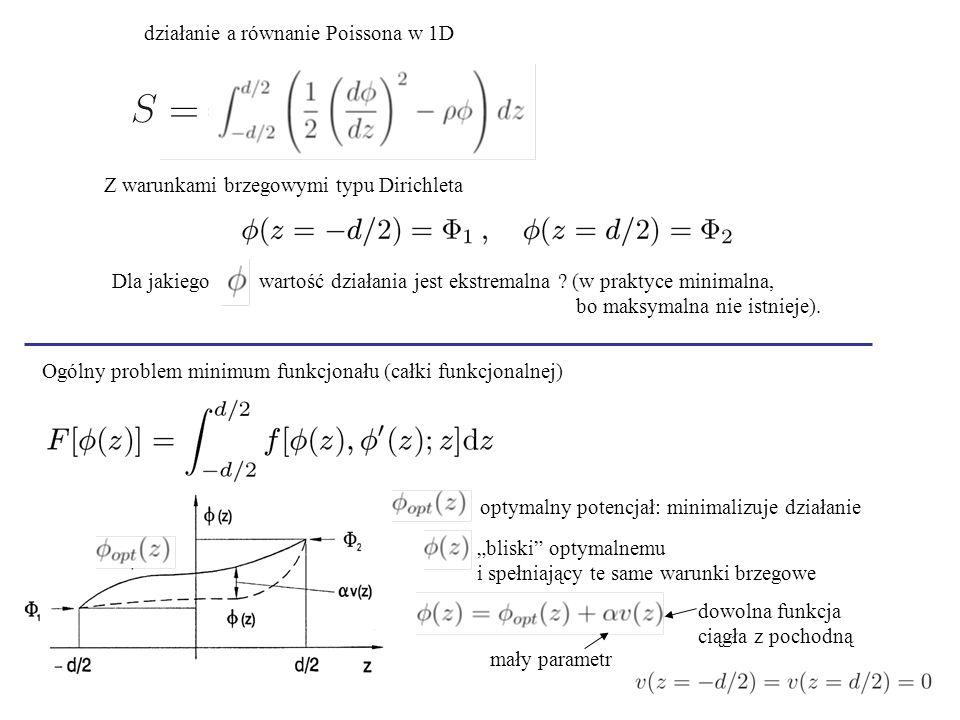 działanie a równanie Poissona w 1D