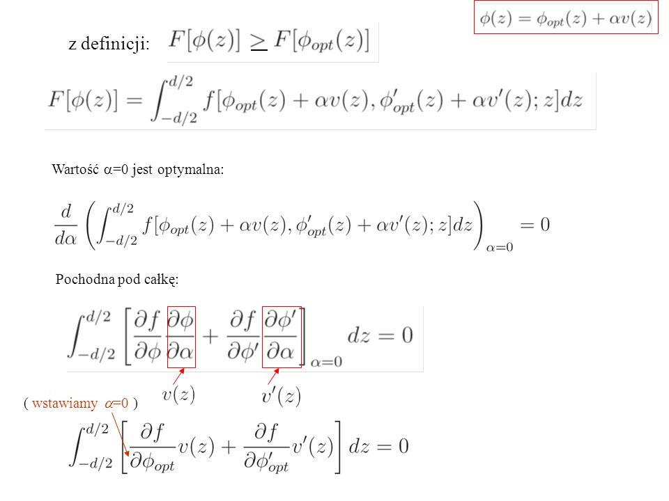 z definicji: Wartość a=0 jest optymalna: Pochodna pod całkę: