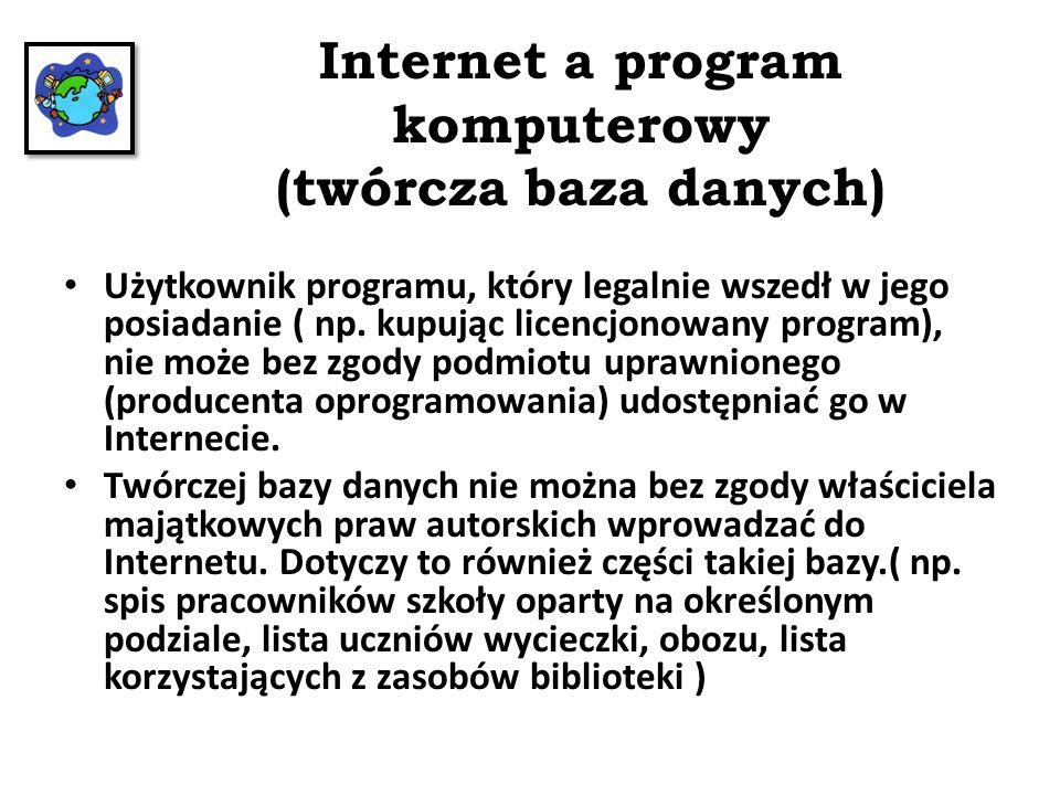 Internet a program komputerowy (twórcza baza danych)