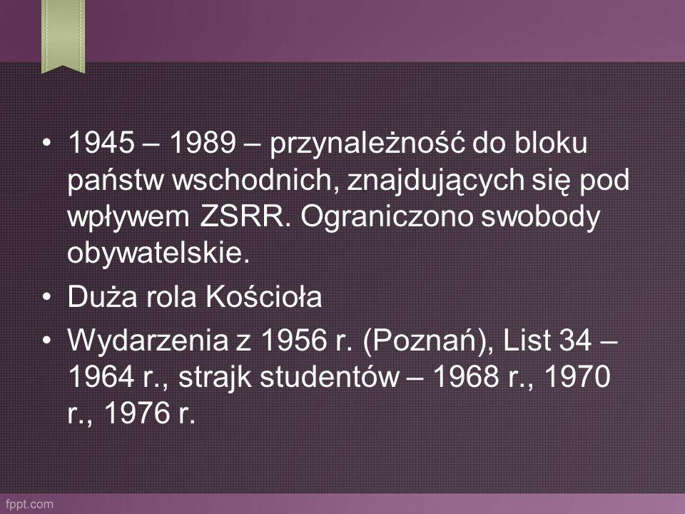 1945 – 1989 – przynależność do bloku państw wschodnich, znajdujących się pod wpływem ZSRR. Ograniczono swobody obywatelskie.