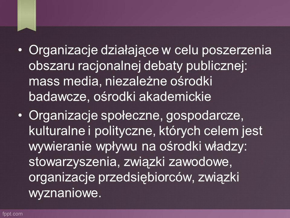 Organizacje działające w celu poszerzenia obszaru racjonalnej debaty publicznej: mass media, niezależne ośrodki badawcze, ośrodki akademickie