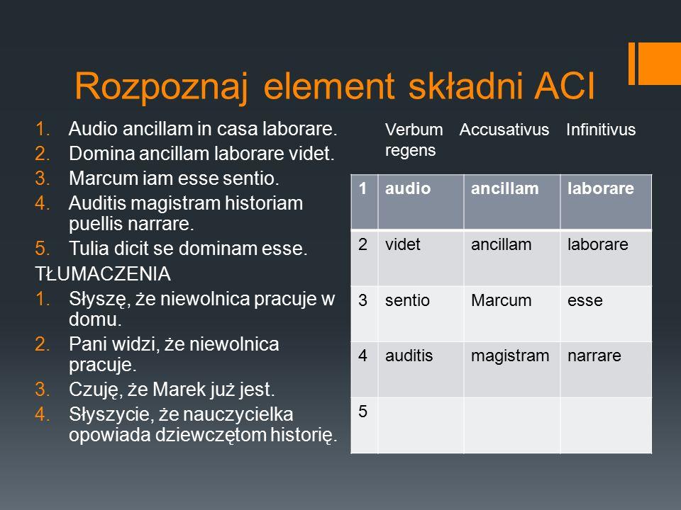 Rozpoznaj element składni ACI