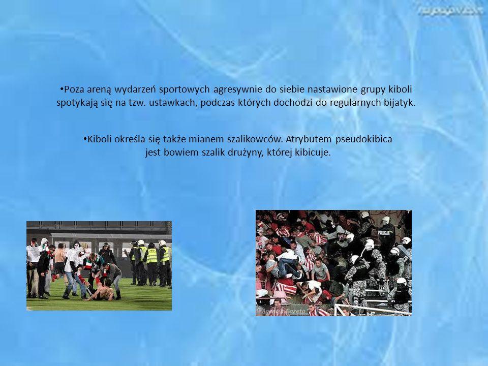 Poza areną wydarzeń sportowych agresywnie do siebie nastawione grupy kiboli spotykają się na tzw. ustawkach, podczas których dochodzi do regularnych bijatyk.