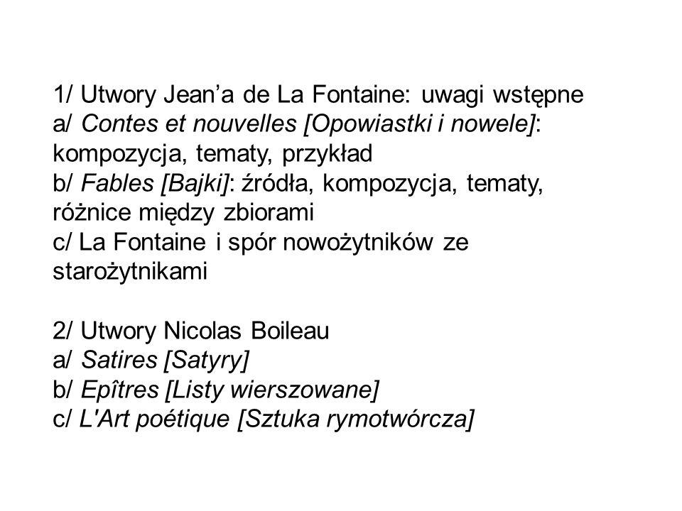 1/ Utwory Jean'a de La Fontaine: uwagi wstępne
