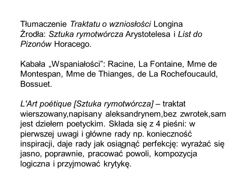 Tłumaczenie Traktatu o wzniosłości Longina
