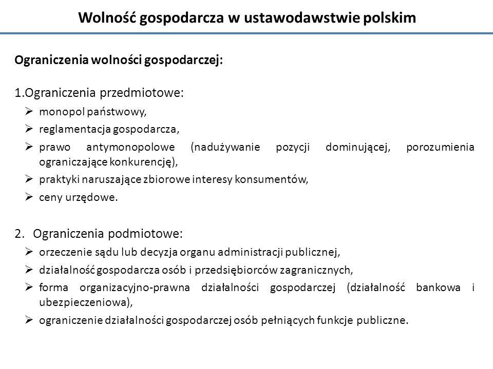 Wolność gospodarcza w ustawodawstwie polskim
