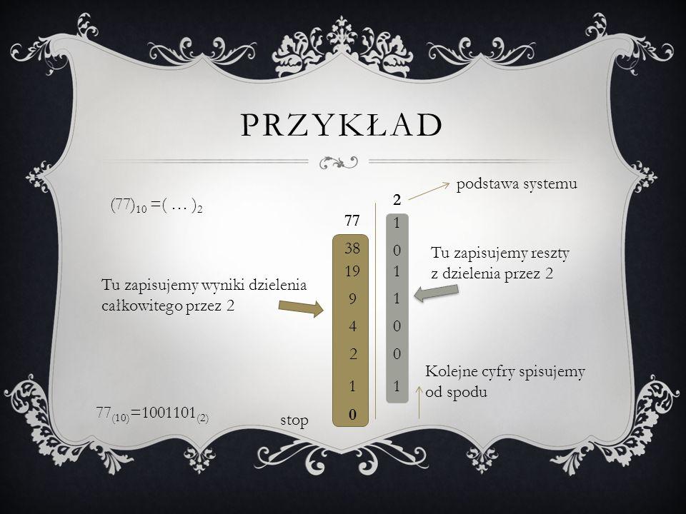 Przykład podstawa systemu (77)10 =( … )2 2 77 1 38