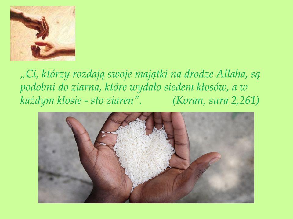 """""""Ci, którzy rozdają swoje majątki na drodze Allaha, są podobni do ziarna, które wydało siedem kłosów, a w każdym kłosie - sto ziaren ."""