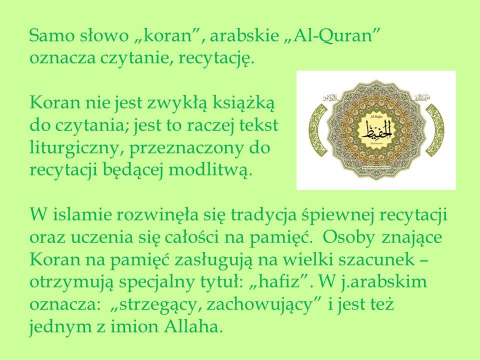 """Samo słowo """"koran , arabskie """"Al-Quran"""