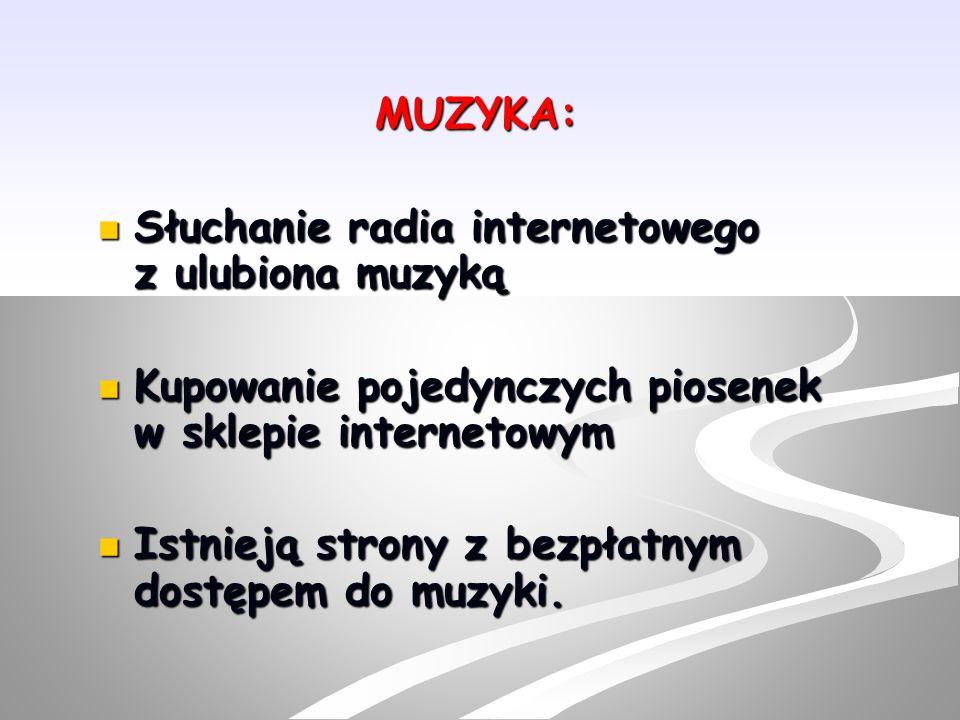 MUZYKA: Słuchanie radia internetowego z ulubiona muzyką. Kupowanie pojedynczych piosenek w sklepie internetowym.