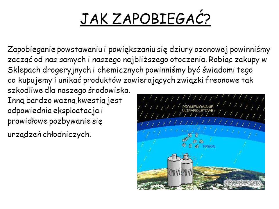 JAK ZAPOBIEGAĆ Zapobieganie powstawaniu i powiększaniu się dziury ozonowej powinniśmy.