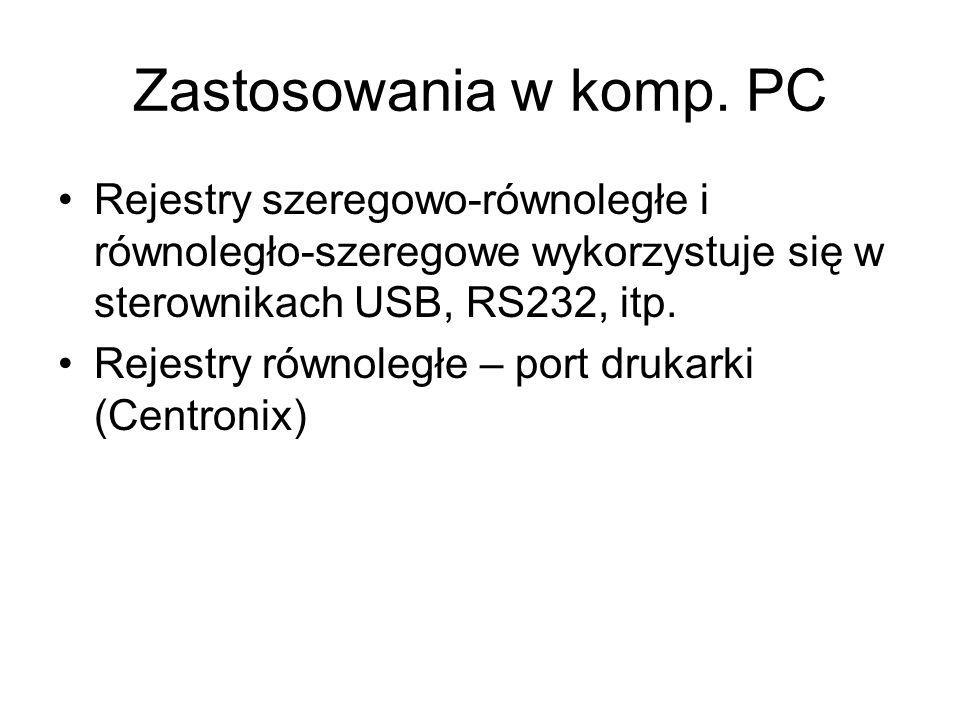 Zastosowania w komp. PC Rejestry szeregowo-równoległe i równoległo-szeregowe wykorzystuje się w sterownikach USB, RS232, itp.