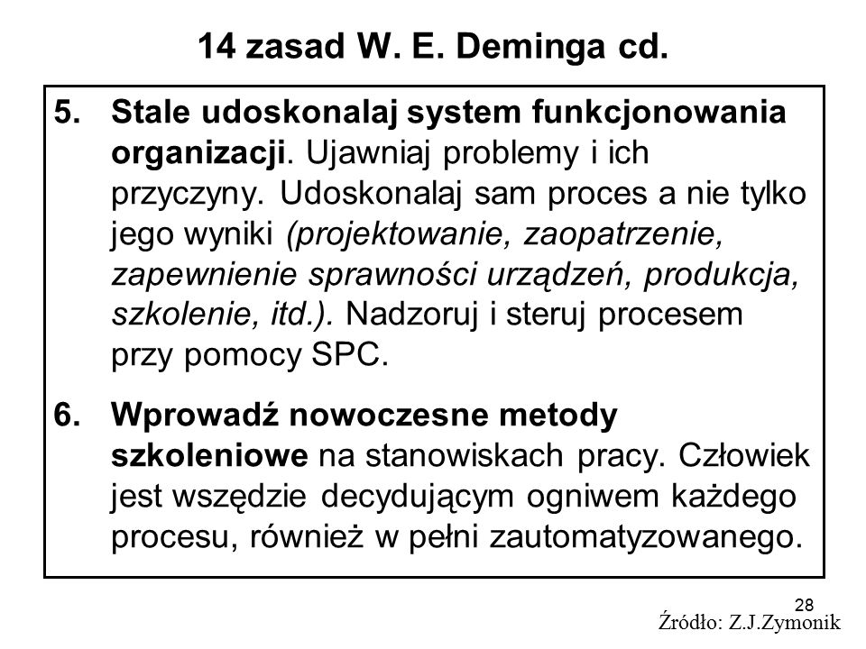 14 zasad W. E. Deminga cd.