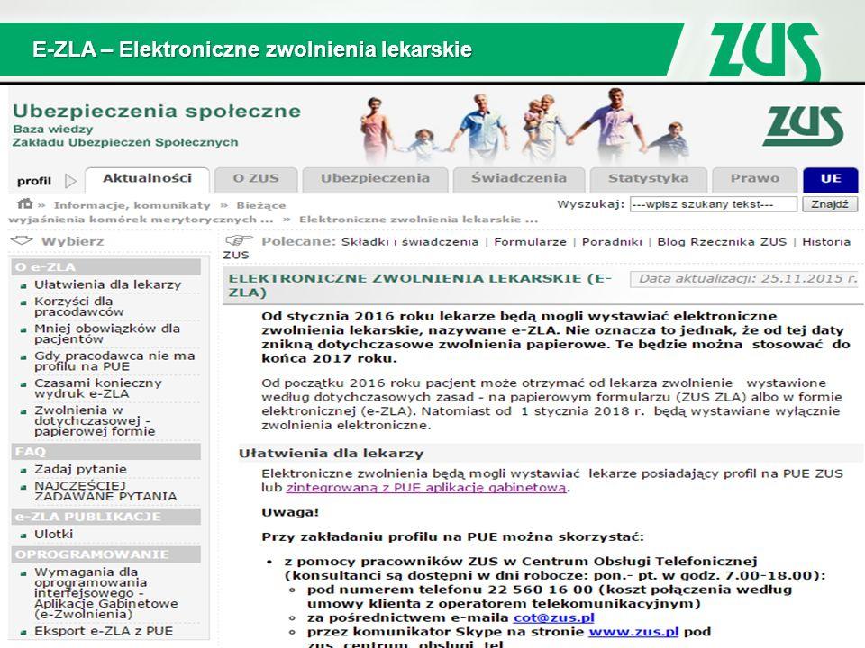 E-ZLA – Elektroniczne zwolnienia lekarskie
