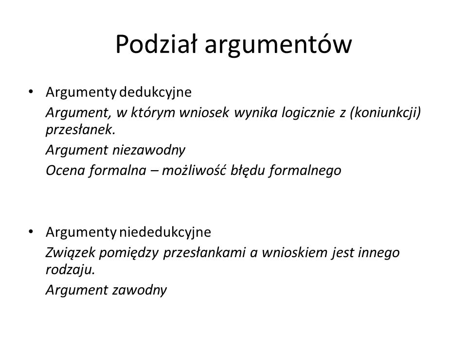 Podział argumentów Argumenty dedukcyjne