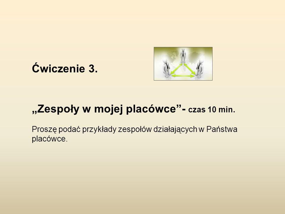 """""""Zespoły w mojej placówce - czas 10 min."""