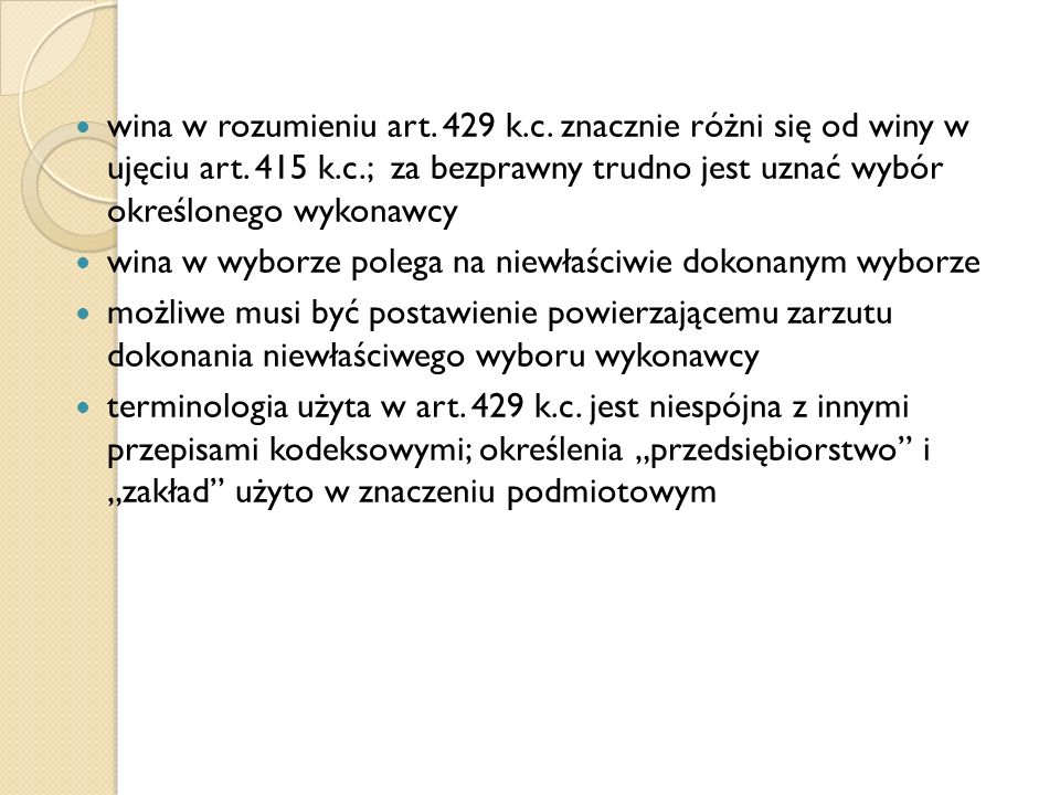 wina w rozumieniu art. 429 k. c