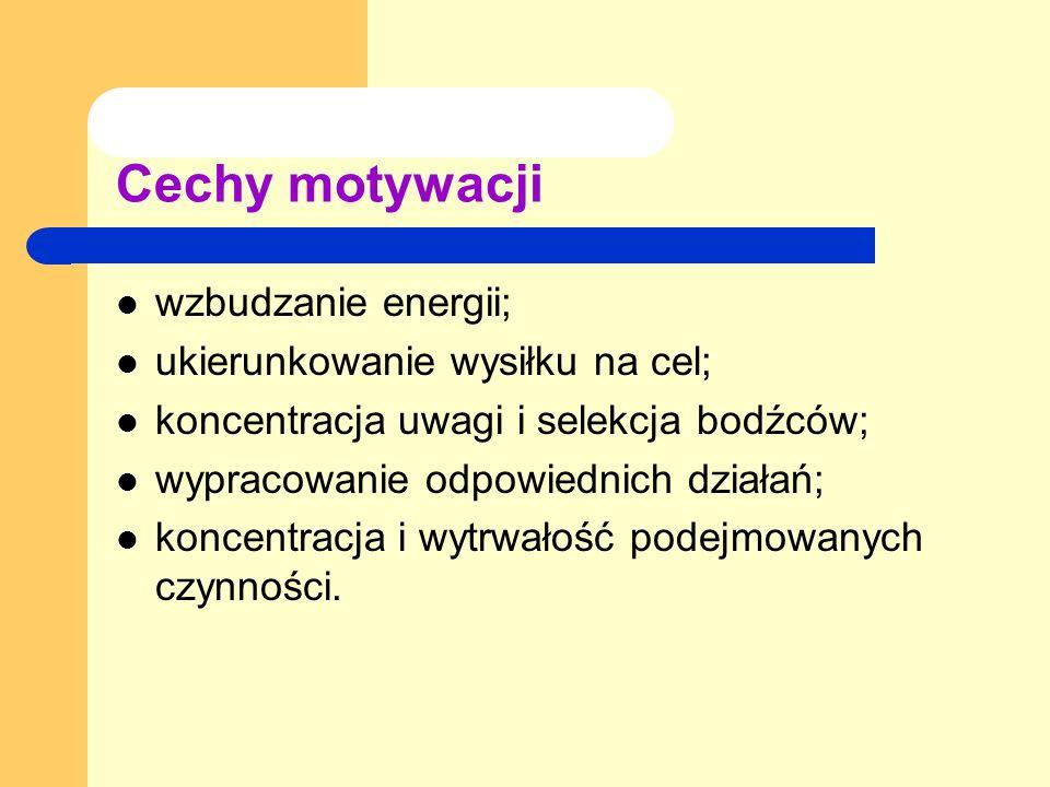 Cechy motywacji wzbudzanie energii; ukierunkowanie wysiłku na cel;