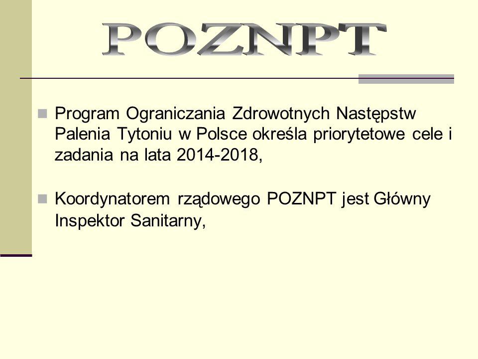 POZNPT Program Ograniczania Zdrowotnych Następstw Palenia Tytoniu w Polsce określa priorytetowe cele i zadania na lata 2014-2018,