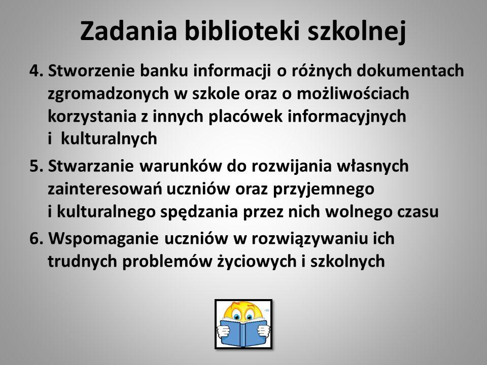 Zadania biblioteki szkolnej