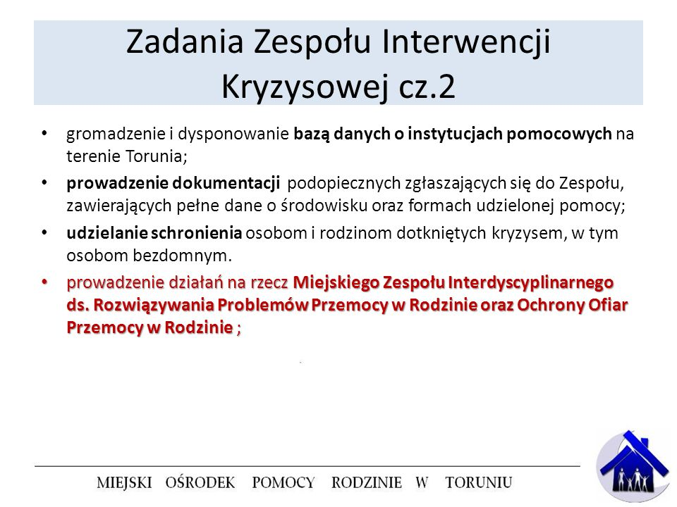 Zadania Zespołu Interwencji Kryzysowej cz.2