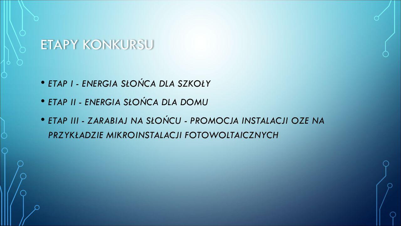 Etapy konkursu ETAP I - ENERGIA SŁOŃCA DLA SZKOŁY