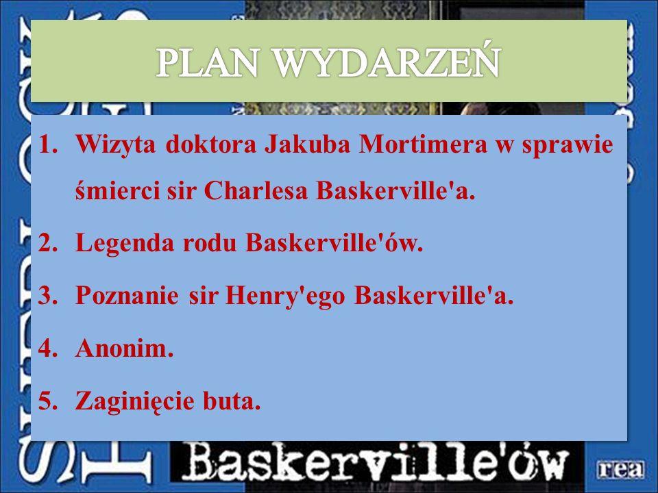 PLAN WYDARZEŃ Wizyta doktora Jakuba Mortimera w sprawie śmierci sir Charlesa Baskerville a. Legenda rodu Baskerville ów.