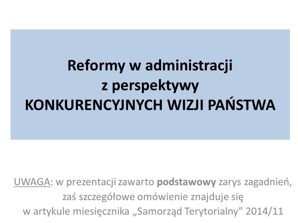 Reformy w administracji z perspektywy KONKURENCYJNYCH WIZJI PAŃSTWA