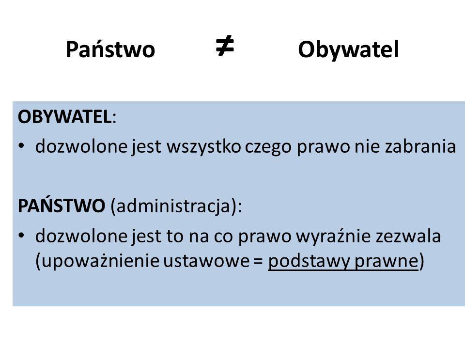 Państwo ≠ Obywatel OBYWATEL: