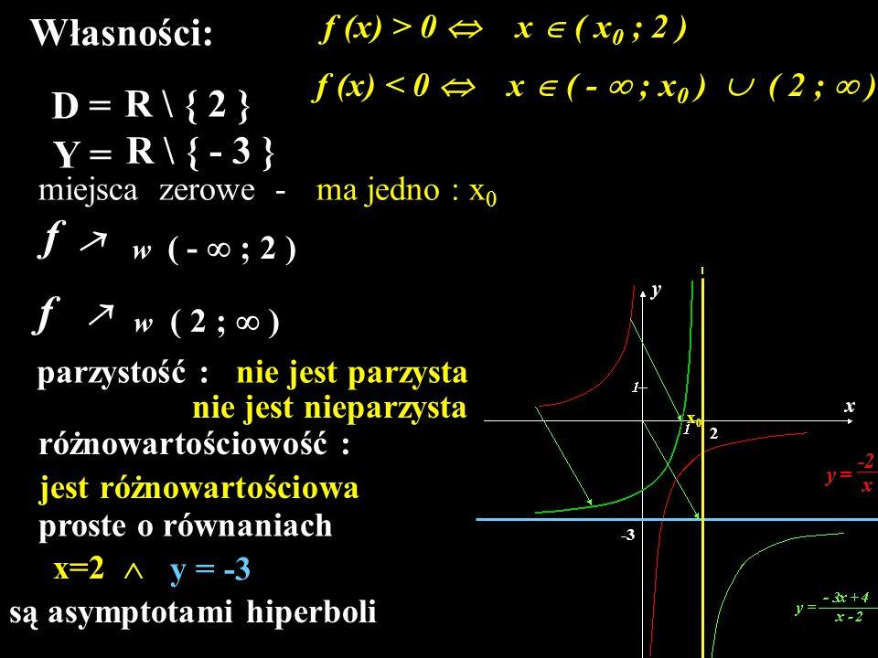 f f Własności: D = R \ { 2 } R \ { - 3 } Y = f (x) > 0 