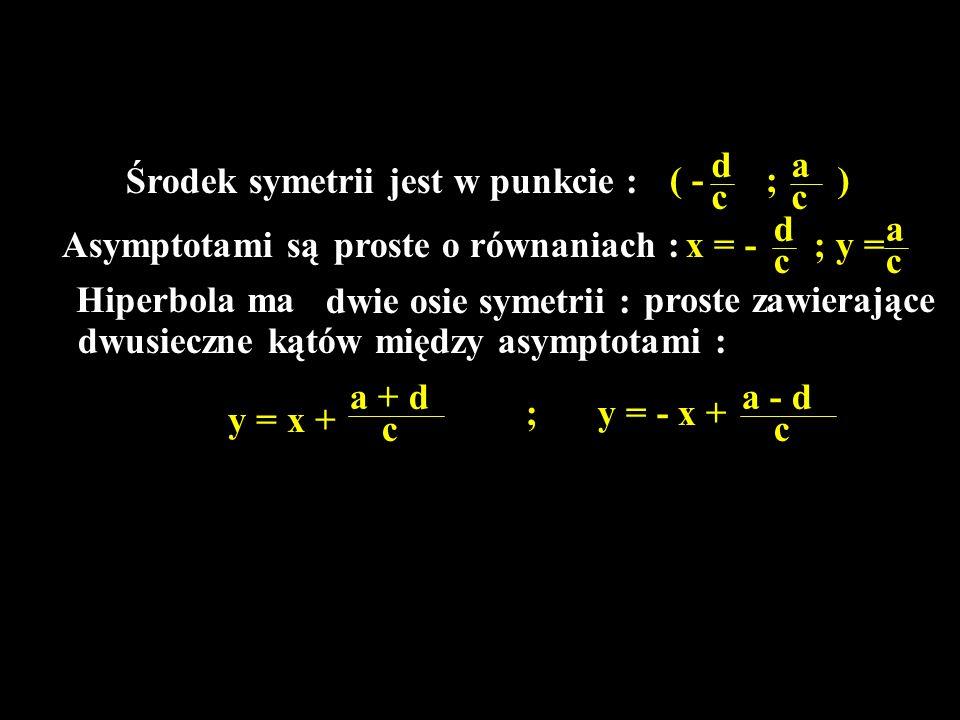 d a. Środek symetrii jest w punkcie : ( - ; ) c. c. d. a. Asymptotami są. proste o równaniach :