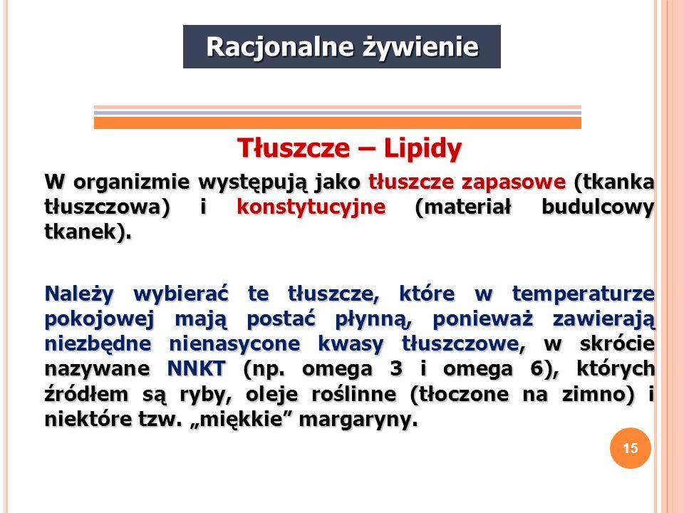 Racjonalne żywienie Tłuszcze – Lipidy