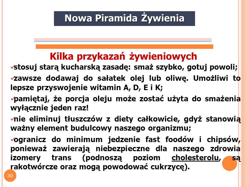 Nowa Piramida Żywienia Kilka przykazań żywieniowych