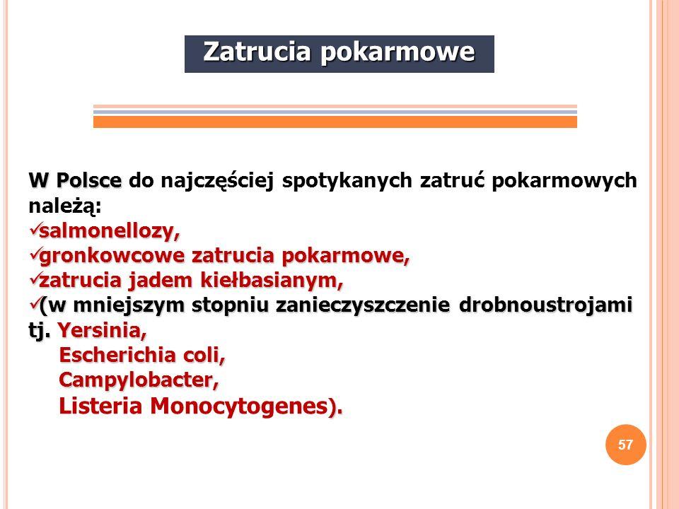 Zatrucia pokarmowe W Polsce do najczęściej spotykanych zatruć pokarmowych należą: salmonellozy, gronkowcowe zatrucia pokarmowe,