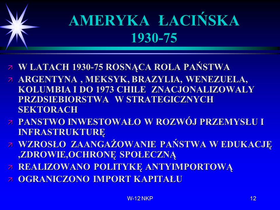 AMERYKA ŁACIŃSKA 1930-75 W LATACH 1930-75 ROSNĄCA ROLA PAŃSTWA