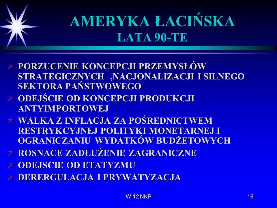 AMERYKA ŁACIŃSKA LATA 90-TE