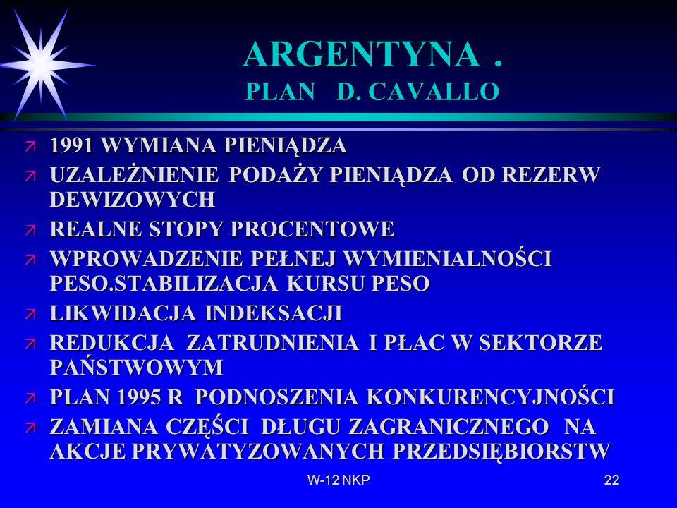 ARGENTYNA . PLAN D. CAVALLO
