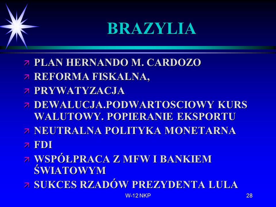 BRAZYLIA PLAN HERNANDO M. CARDOZO REFORMA FISKALNA, PRYWATYZACJA