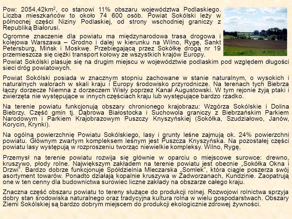 Pow: 2054,42km2, co stanowi 11% obszaru województwa Podlaskiego