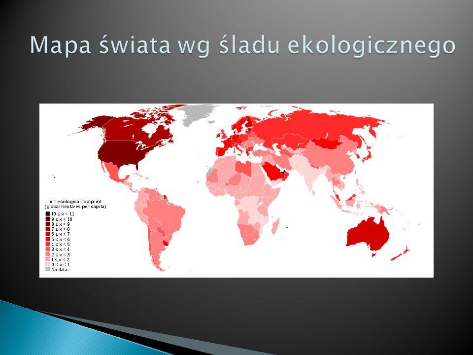 Mapa świata wg śladu ekologicznego